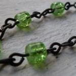 Handmade Green Crackle Bead..