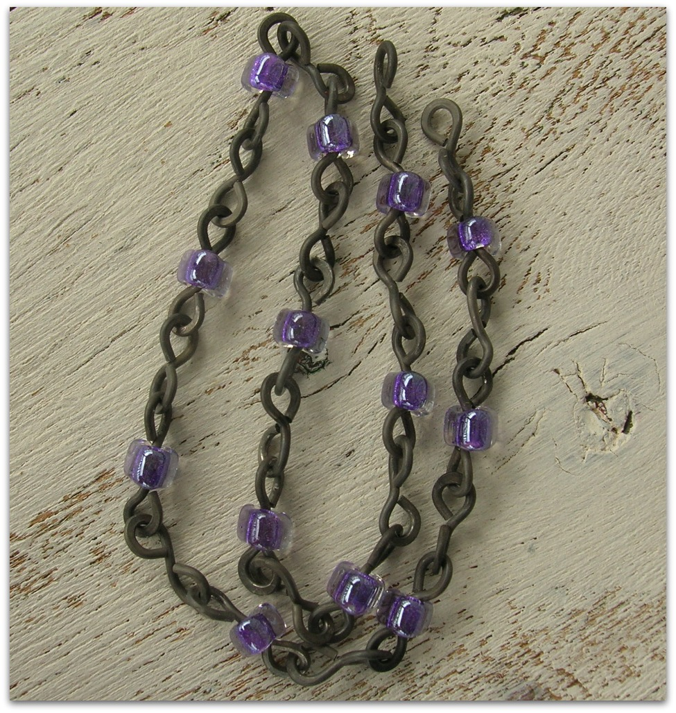 Handmade Purple Bead Annealed Chain